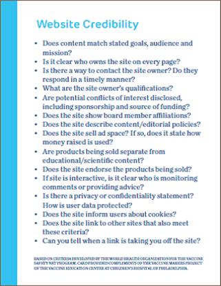 website evaluation card front